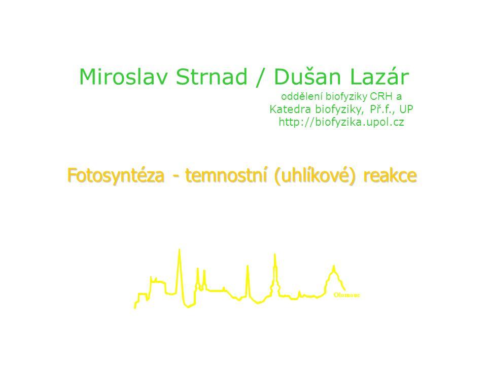 Miroslav Strnad / Dušan Lazár oddělení biofyziky CRH a Katedra biofyziky, Př.f., UP http://biofyzika.upol.cz Fotosyntéza - temnostní (uhlíkové) reakce