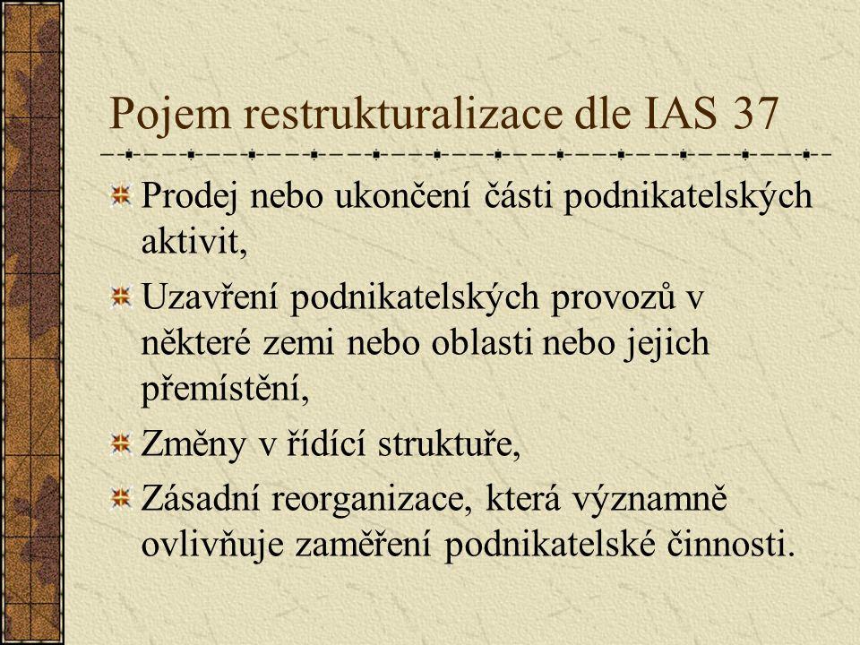 Pojem restrukturalizace dle IAS 37 Prodej nebo ukončení části podnikatelských aktivit, Uzavření podnikatelských provozů v některé zemi nebo oblasti ne