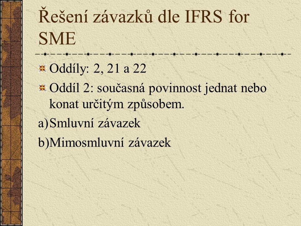 Řešení závazků dle IFRS for SME Oddíly: 2, 21 a 22 Oddíl 2: současná povinnost jednat nebo konat určitým způsobem. a)Smluvní závazek b)Mimosmluvní záv