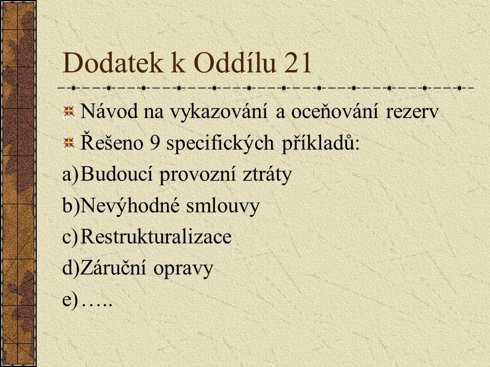 Dodatek k Oddílu 21 Návod na vykazování a oceňování rezerv Řešeno 9 specifických příkladů: a)Budoucí provozní ztráty b)Nevýhodné smlouvy c)Restruktura