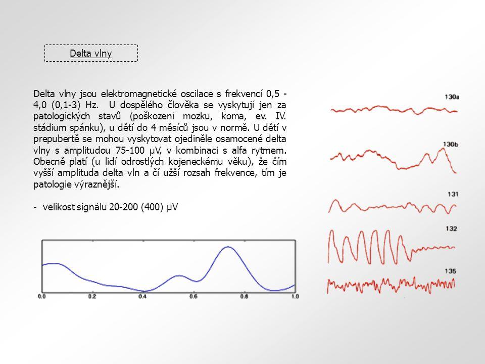 Delta vlny Delta vlny jsou elektromagnetické oscilace s frekvencí 0,5 - 4,0 (0,1-3) Hz. U dospělého člověka se vyskytují jen za patologických stavů (p