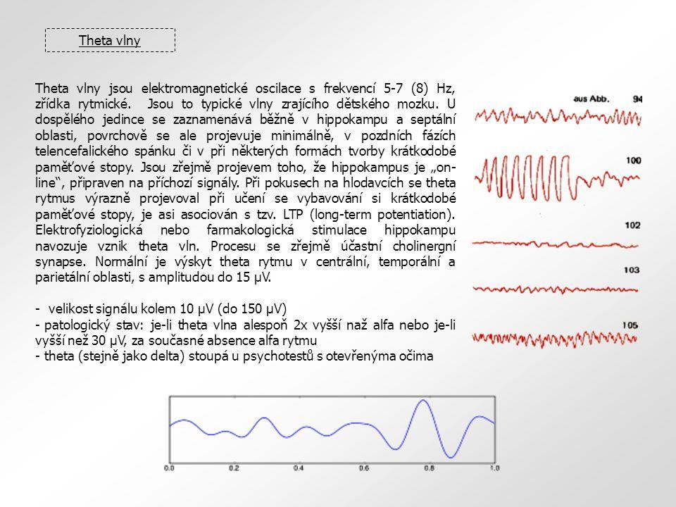 Theta vlny Theta vlny jsou elektromagnetické oscilace s frekvencí 5-7 (8) Hz, zřídka rytmické. Jsou to typické vlny zrajícího dětského mozku. U dospěl