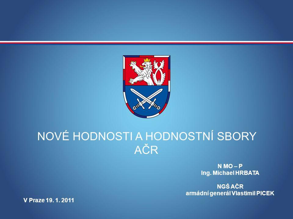 MINISTERSTVO OBRANY ČESKÉ REPUBLIKY NOVÉ HODNOSTI A HODNOSTNÍ SBORY AČR N MO – P Ing.