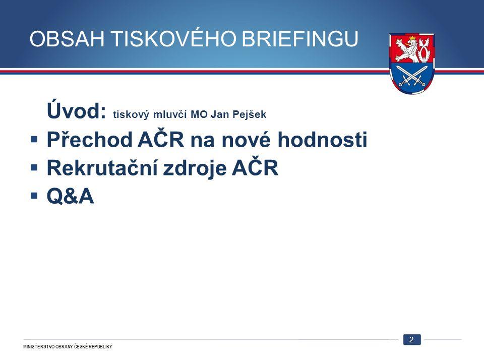 MINISTERSTVO OBRANY ČESKÉ REPUBLIKY PŘECHOD AČR NA NOVÉ HODNOSTI NMO-P  Snížení hodností VZP: -ke dni 1.1.2011 u 13135 vojáků, což je 59 % z celkového počtu vojáků.