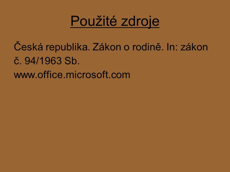 Použité zdroje Česká republika. Zákon o rodině. In: zákon č. 94/1963 Sb. www.office.microsoft.com