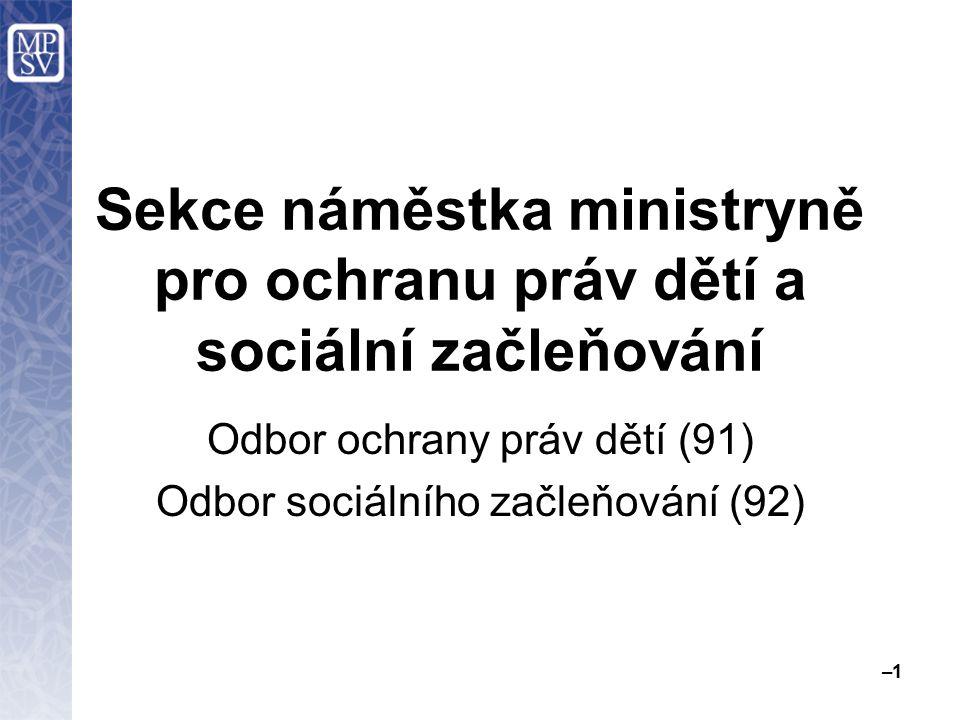 Sekce náměstka ministryně pro ochranu práv dětí a sociální začleňování Odbor ochrany práv dětí (91) Odbor sociálního začleňování (92) –1–1