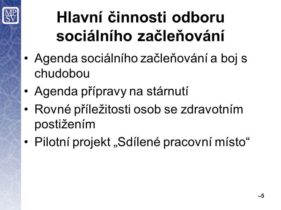 Hlavní činnosti odboru sociálního začleňování Agenda sociálního začleňování a boj s chudobou Agenda přípravy na stárnutí Rovné příležitosti osob se zd