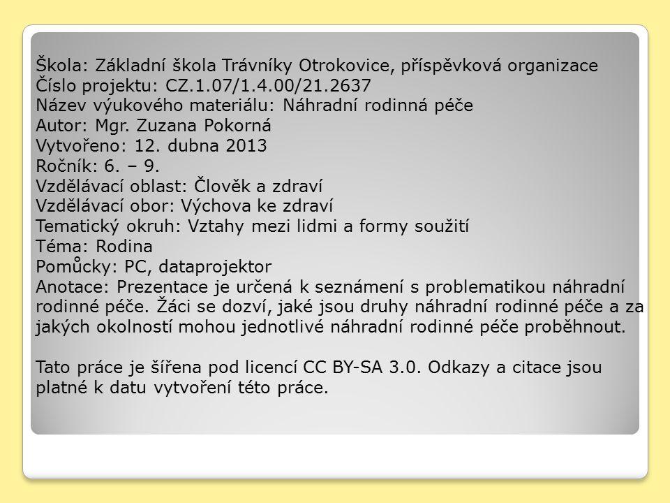 Škola: Základní škola Trávníky Otrokovice, příspěvková organizace Číslo projektu: CZ.1.07/1.4.00/21.2637 Název výukového materiálu: Náhradní rodinná p