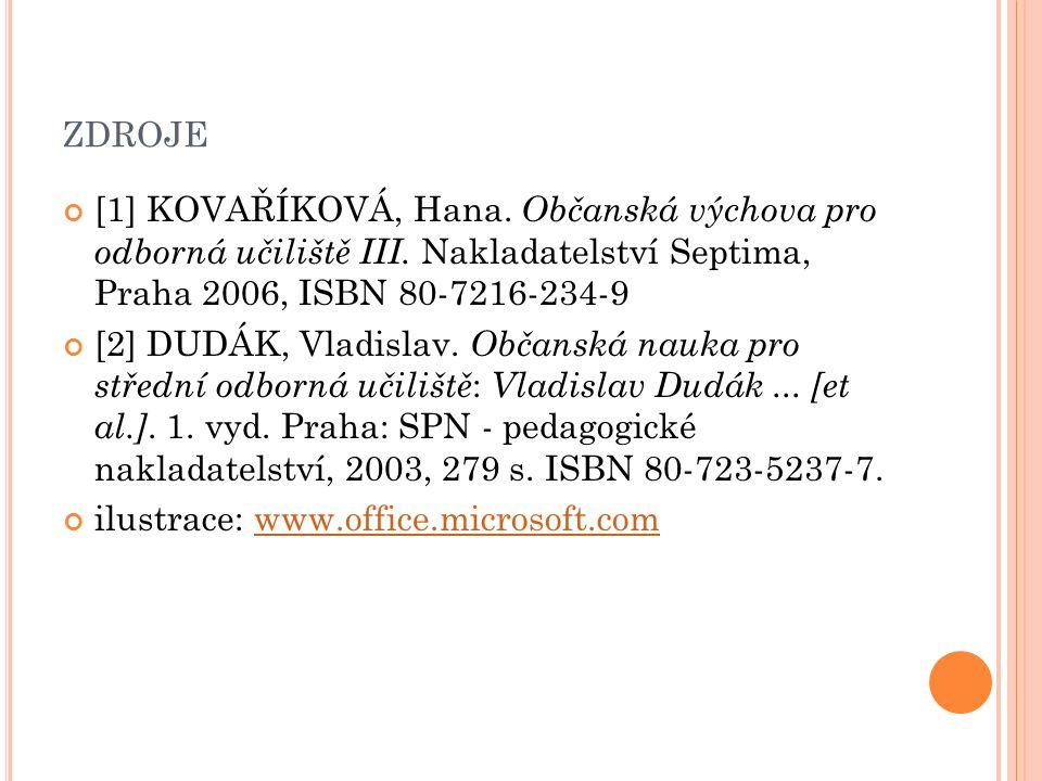 ZDROJE [1] KOVAŘÍKOVÁ, Hana. Občanská výchova pro odborná učiliště III. Nakladatelství Septima, Praha 2006, ISBN 80-7216-234-9 [2] DUDÁK, Vladislav. O