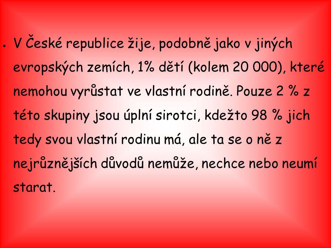 ● V České republice žije, podobně jako v jiných evropských zemích, 1% dětí (kolem 20 000), které nemohou vyrůstat ve vlastní rodině. Pouze 2 % z této