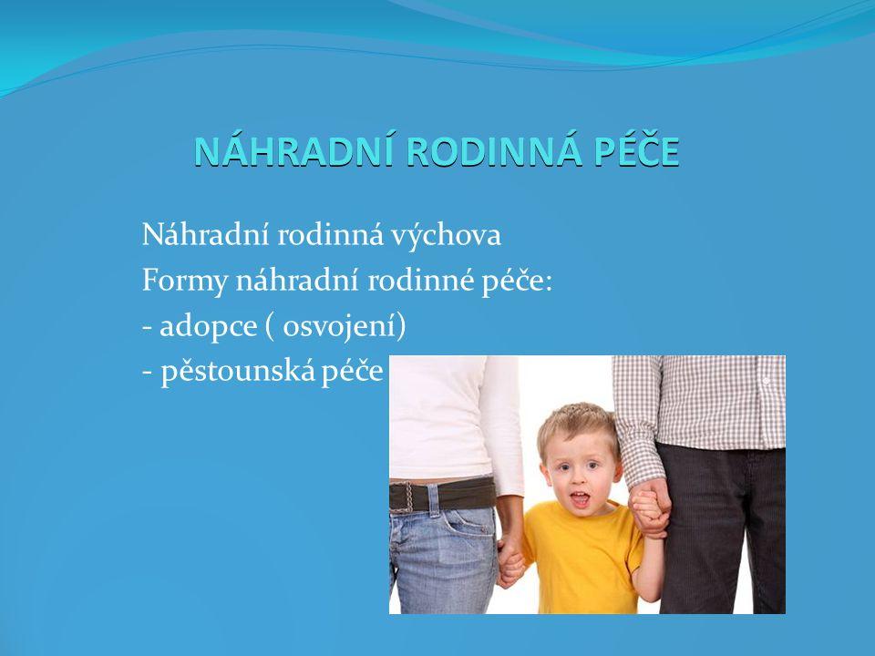 NÁHRADNÍ RODINNÁ VÝCHOVA Náhradní výchova - dítě je svěřeno soudem do výchovy někomu jinému než rodičům Náhradní rodinná výchova - výchova dítěte v rodinném prostředí