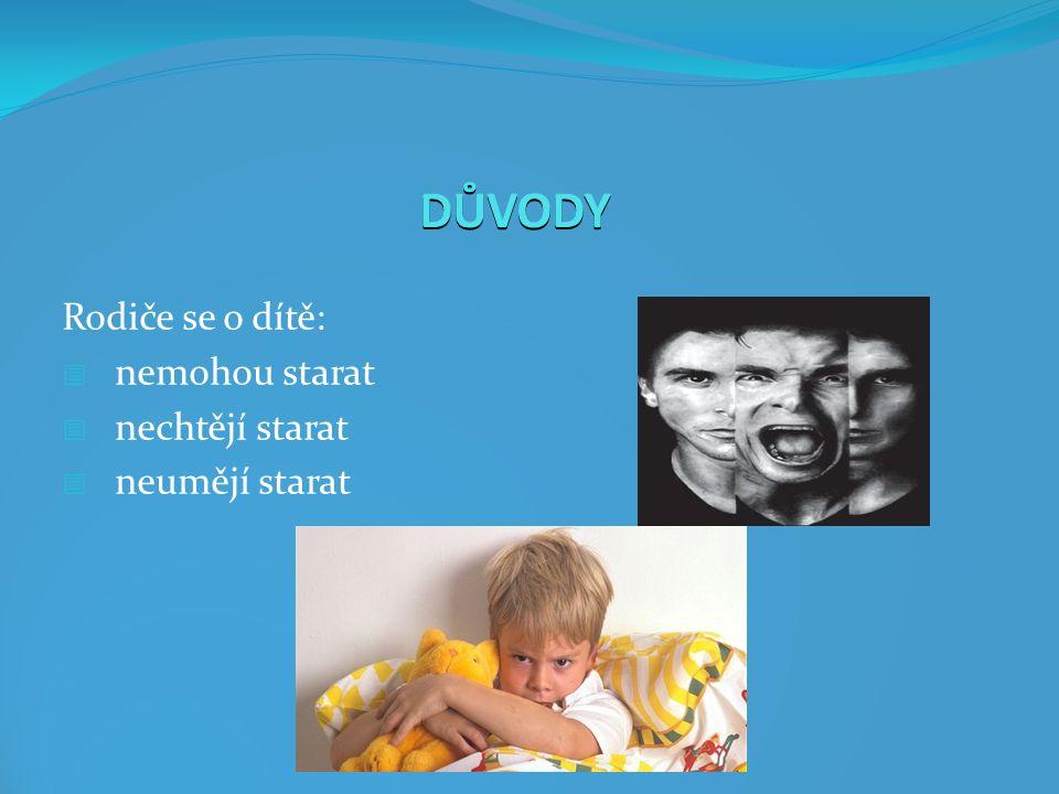 DŮVODY Rodiče se o dítě:  nemohou starat  nechtějí starat  neumějí starat