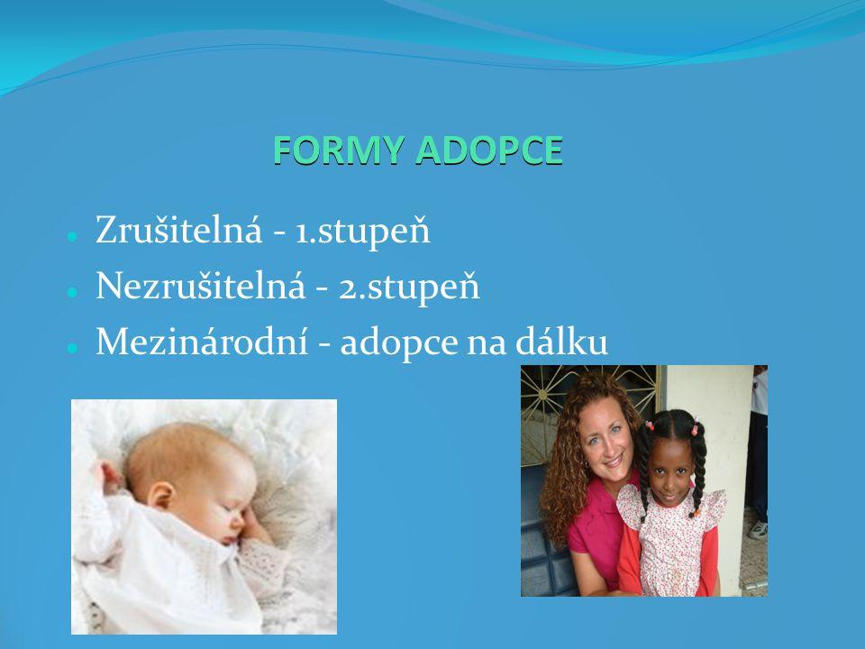 FORMY ADOPCE Zrušitelná - 1.stupeň Nezrušitelná - 2.stupeň Mezinárodní - adopce na dálku