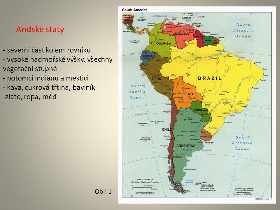 Andské státy - severní část kolem rovníku - vysoké nadmořské výšky, všechny vegetační stupně - potomci indiánů a mestici - káva, cukrová třtina, bavlník -zlato, ropa, měď Obr.