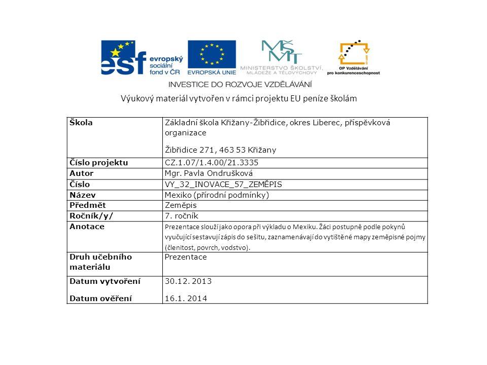 Výukový materiál vytvořen v rámci projektu EU peníze školám Škola Základní škola Křižany-Žibřidice, okres Liberec, příspěvková organizace Žibřidice 27