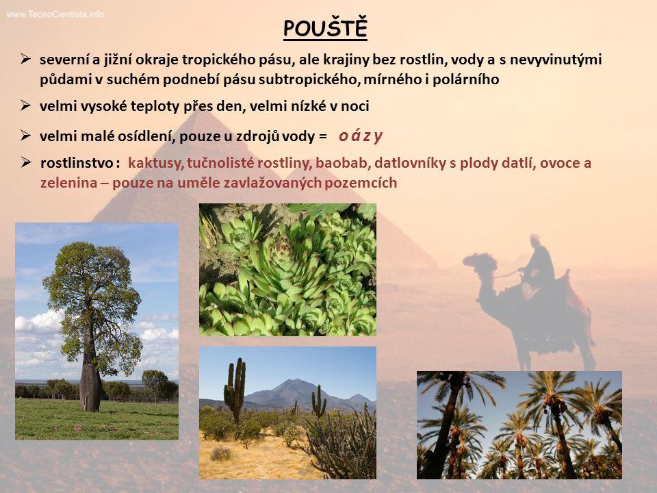 POUŠTĚ  severní a jižní okraje tropického pásu, ale krajiny bez rostlin, vody a s nevyvinutými půdami v suchém podnebí pásu subtropického, mírného i polárního  velmi vysoké teploty přes den, velmi nízké v noci  velmi malé osídlení, pouze u zdrojů vody = oázy  rostlinstvo : kaktusy, tučnolisté rostliny, baobab, datlovníky s plody datlí, ovoce a zelenina – pouze na uměle zavlažovaných pozemcích