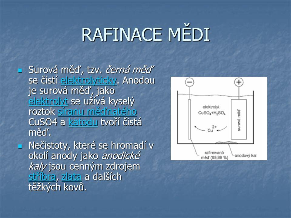 RAFINACE MĚDI Surová měď, tzv.černá měď se čistí elektrolyticky.