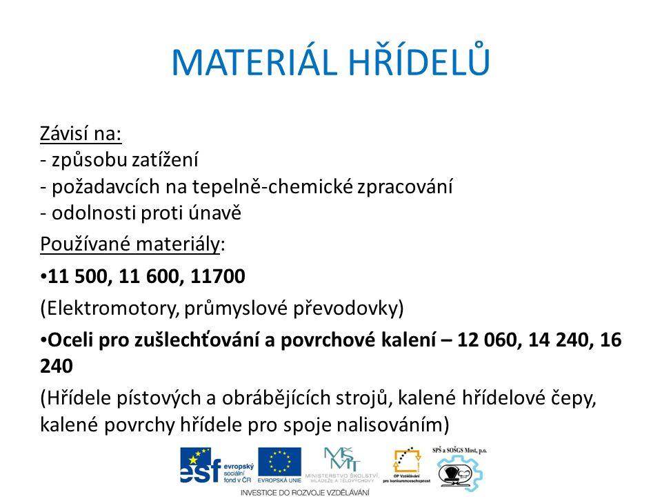 MATERIÁL HŘÍDELŮ Závisí na: - způsobu zatížení - požadavcích na tepelně-chemické zpracování - odolnosti proti únavě Používané materiály: 11 500, 11 60