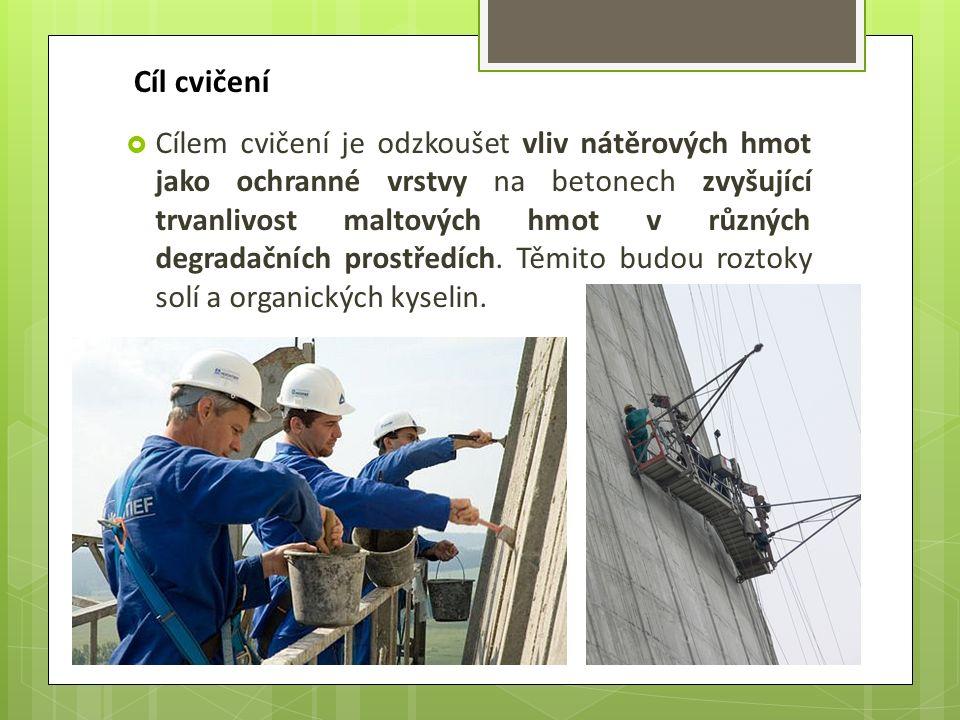 Cíl cvičení  Cílem cvičení je odzkoušet vliv nátěrových hmot jako ochranné vrstvy na betonech zvyšující trvanlivost maltových hmot v různých degradačních prostředích.