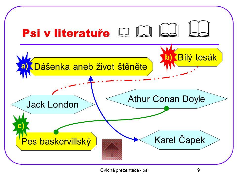 Cvičná prezentace - psi 9 Psi v literatuře     Bílý tesák Jack London Dášenka aneb život štěněte Pes baskervillský Karel Čapek Athur Conan Doyle a