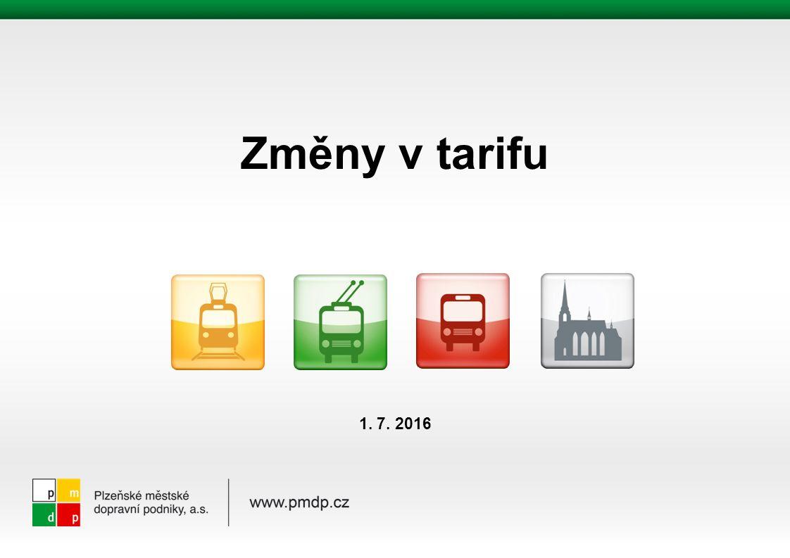 Změny v tarifu od 1.7. 2016 platné pro tarifní zónu 001 Plzeň v rámci IDP 1.