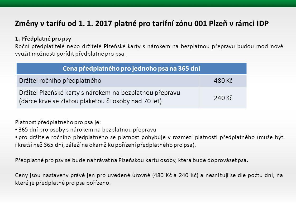 Změny v tarifu od 1. 1. 2017 platné pro tarifní zónu 001 Plzeň v rámci IDP 1.