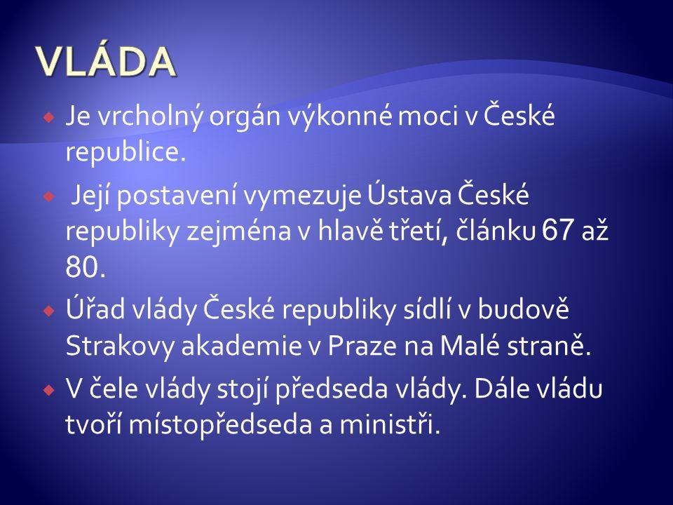  Je vrcholný orgán výkonné moci v České republice.