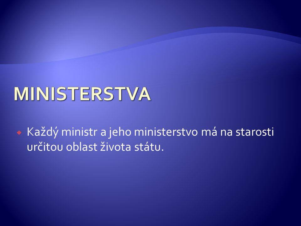  Každý ministr a jeho ministerstvo má na starosti určitou oblast života státu.