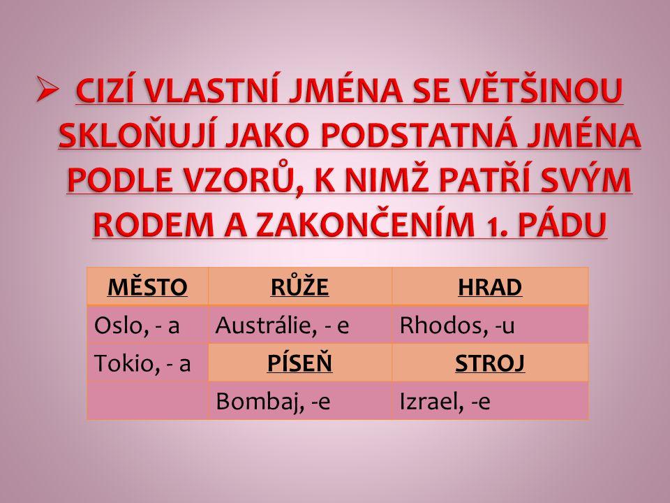 MĚSTORŮŽEHRAD Oslo, - aAustrálie, - eRhodos, -u Tokio, - aPÍSEŇSTROJ Bombaj, -eIzrael, -e  CIZÍ VLASTNÍ JMÉNA SE VĚTŠINOU SKLOŇUJÍ JAKO PODSTATNÁ JMÉNA PODLE VZORŮ, K NIMŽ PATŘÍ SVÝM RODEM A ZAKONČENÍM 1.
