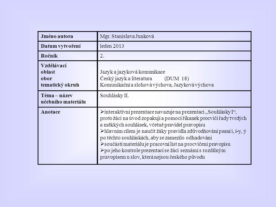 Autorem materiálu a všech jeho částí, není-li uvedeno jinak, je Mgr. Stanislava Junková. II.