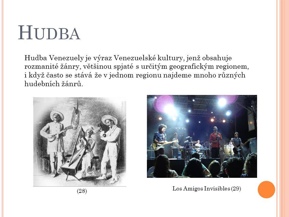 H UDBA Hudba Venezuely je výraz Venezuelské kultury, jenž obsahuje rozmanité žánry, většinou spjaté s určitým geografickým regionem, i když často se stává že v jednom regionu najdeme mnoho různých hudebních žánrů.