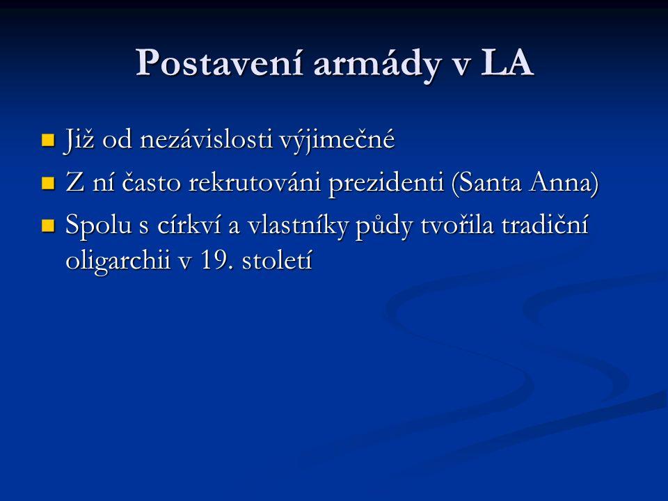 Postavení armády v LA Již od nezávislosti výjimečné Již od nezávislosti výjimečné Z ní často rekrutováni prezidenti (Santa Anna) Z ní často rekrutováni prezidenti (Santa Anna) Spolu s církví a vlastníky půdy tvořila tradiční oligarchii v 19.