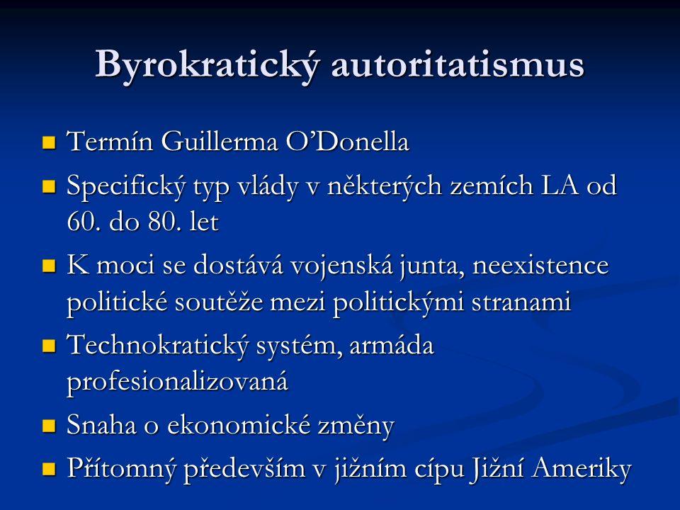 Byrokratický autoritatismus Termín Guillerma O'Donella Termín Guillerma O'Donella Specifický typ vlády v některých zemích LA od 60.