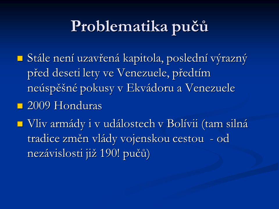 Problematika pučů Stále není uzavřená kapitola, poslední výrazný před deseti lety ve Venezuele, předtím neúspěšné pokusy v Ekvádoru a Venezuele Stále není uzavřená kapitola, poslední výrazný před deseti lety ve Venezuele, předtím neúspěšné pokusy v Ekvádoru a Venezuele 2009 Honduras 2009 Honduras Vliv armády i v událostech v Bolívii (tam silná tradice změn vlády vojenskou cestou - od nezávislosti již 190.