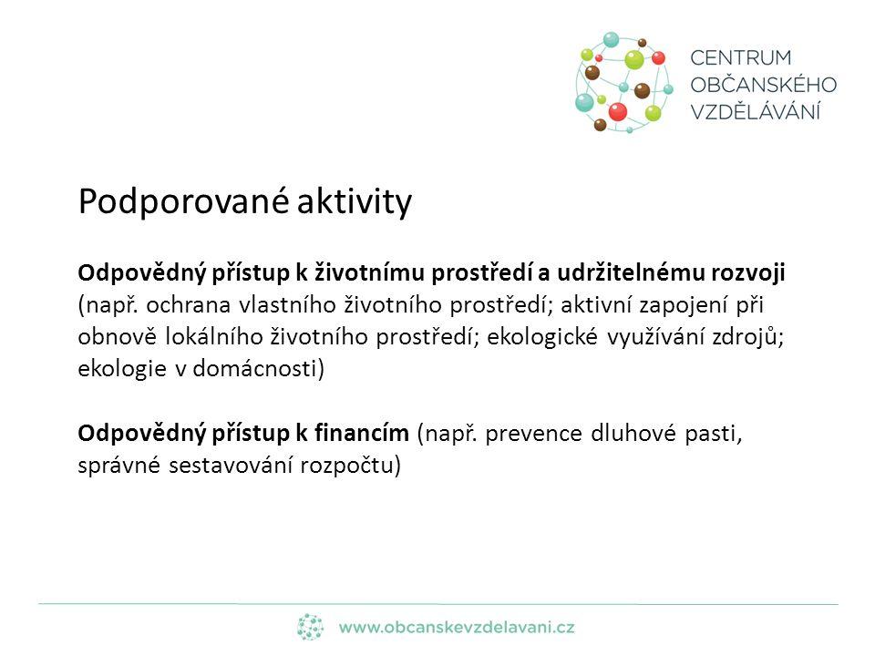 Podporované aktivity Odpovědný přístup k životnímu prostředí a udržitelnému rozvoji (např.