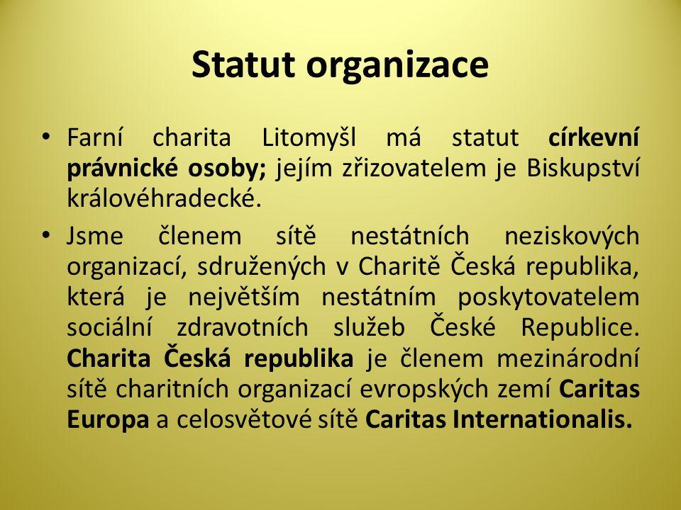 Statut organizace Farní charita Litomyšl má statut církevní právnické osoby; jejím zřizovatelem je Biskupství královéhradecké.