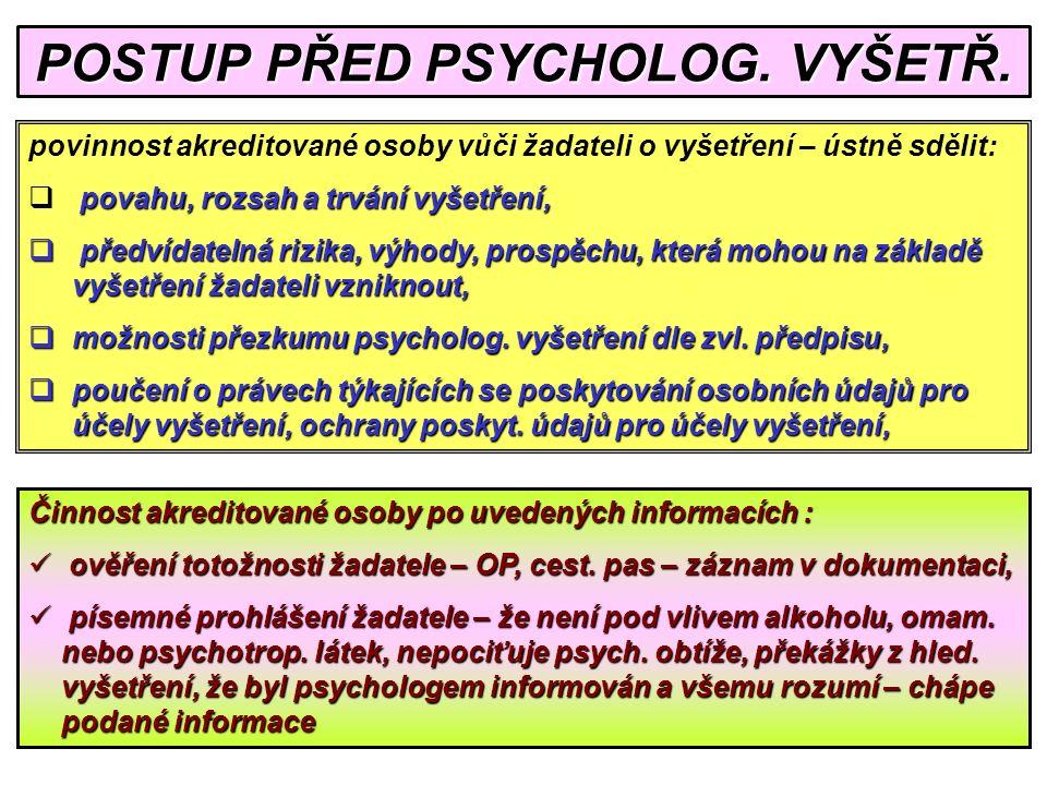 POSTUP PŘED PSYCHOLOG.VYŠETŘ.