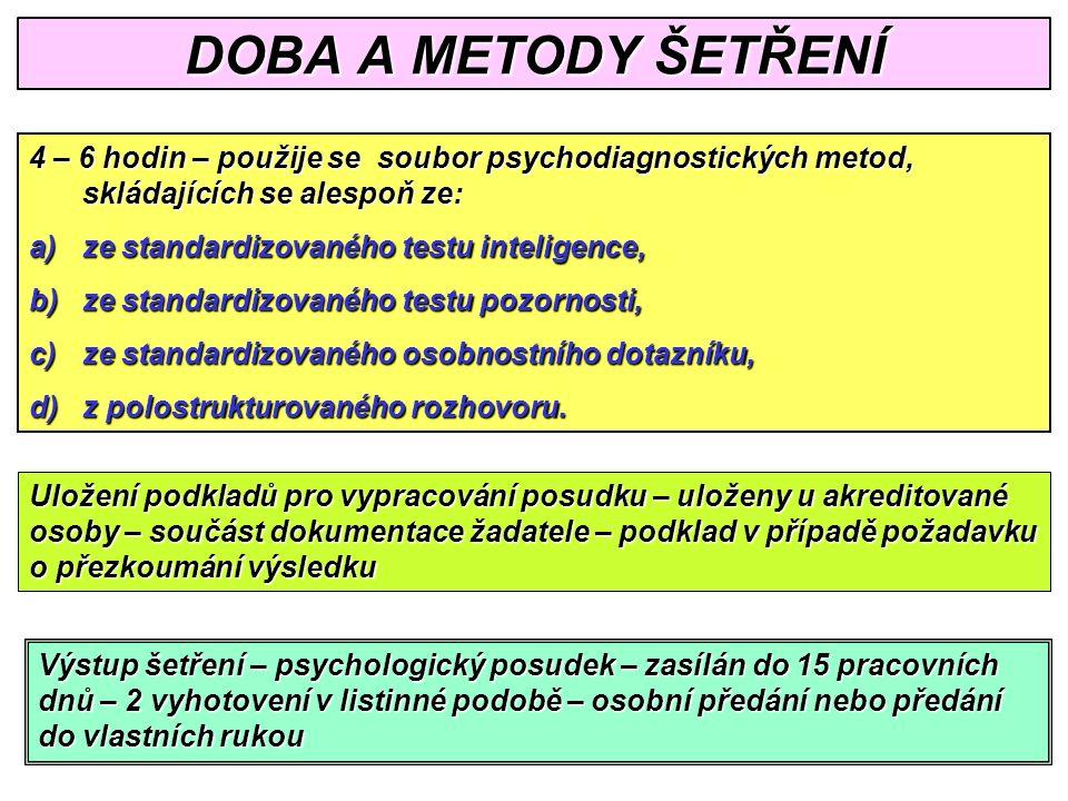 DOBA A METODY ŠETŘENÍ 4 – 6 hodin – použije se soubor psychodiagnostických metod, skládajících se alespoň ze: a)ze standardizovaného testu inteligence, b)ze standardizovaného testu pozornosti, c)ze standardizovaného osobnostního dotazníku, d)z polostrukturovaného rozhovoru.