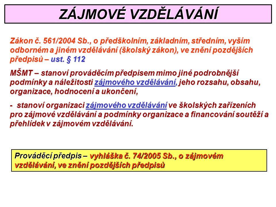 ZÁJMOVÉ VZDĚLÁVÁNÍ Zákon č.