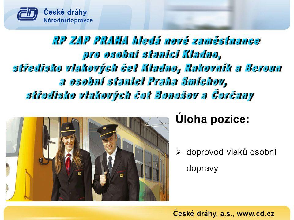 Úloha pozice:  doprovod vlaků osobní dopravy České dráhy, a.s., www.cd.cz České dráhy Národní dopravce