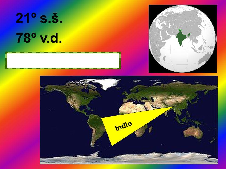 21º s.š. 78º v.d. Indie