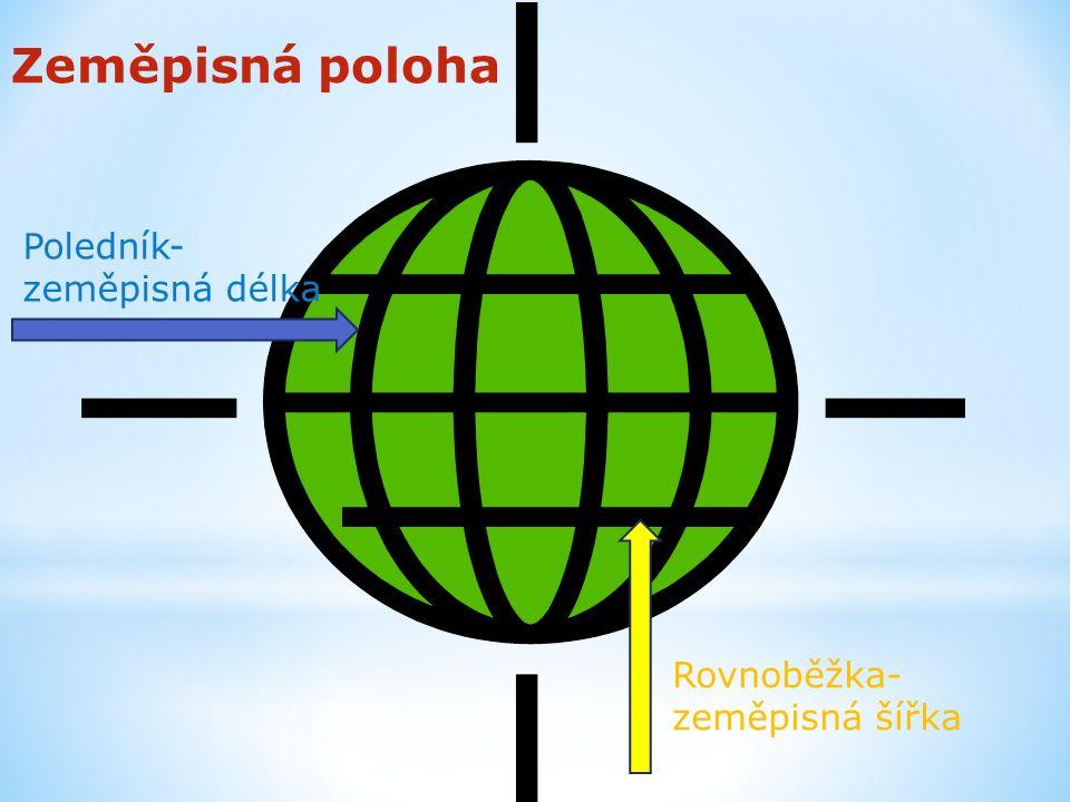 Poledník- zeměpisná délka Rovnoběžka- zeměpisná šířka Zeměpisná poloha