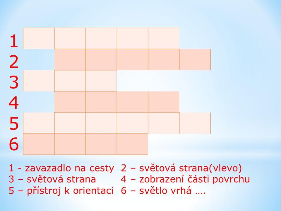 123456123456 1 - zavazadlo na cesty 2 – světová strana(vlevo) 3 – světová strana4 – zobrazení části povrchu 5 – přístroj k orientaci 6 – světlo vrhá …