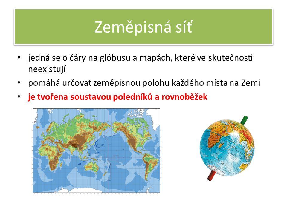 Zeměpisná síť jedná se o čáry na glóbusu a mapách, které ve skutečnosti neexistují pomáhá určovat zeměpisnou polohu každého místa na Zemi je tvořena soustavou poledníků a rovnoběžek