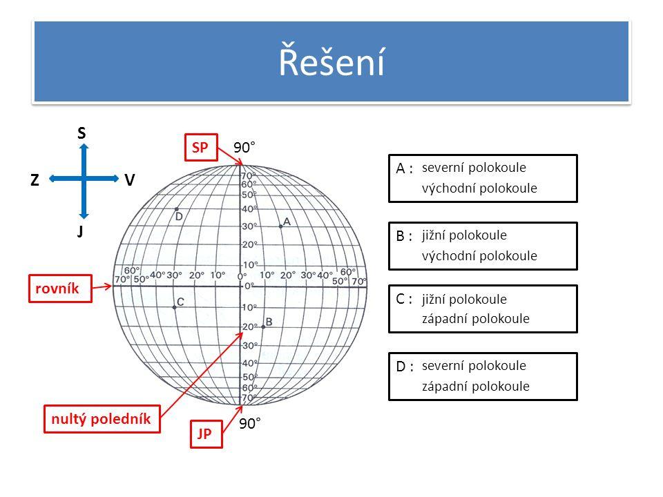 Řešení 90° rovník SP JP nultý poledník A : B : C : D : severní polokoule východní polokoule jižní polokoule východní polokoule jižní polokoule západní polokoule severní polokoule západní polokoule S J VZ