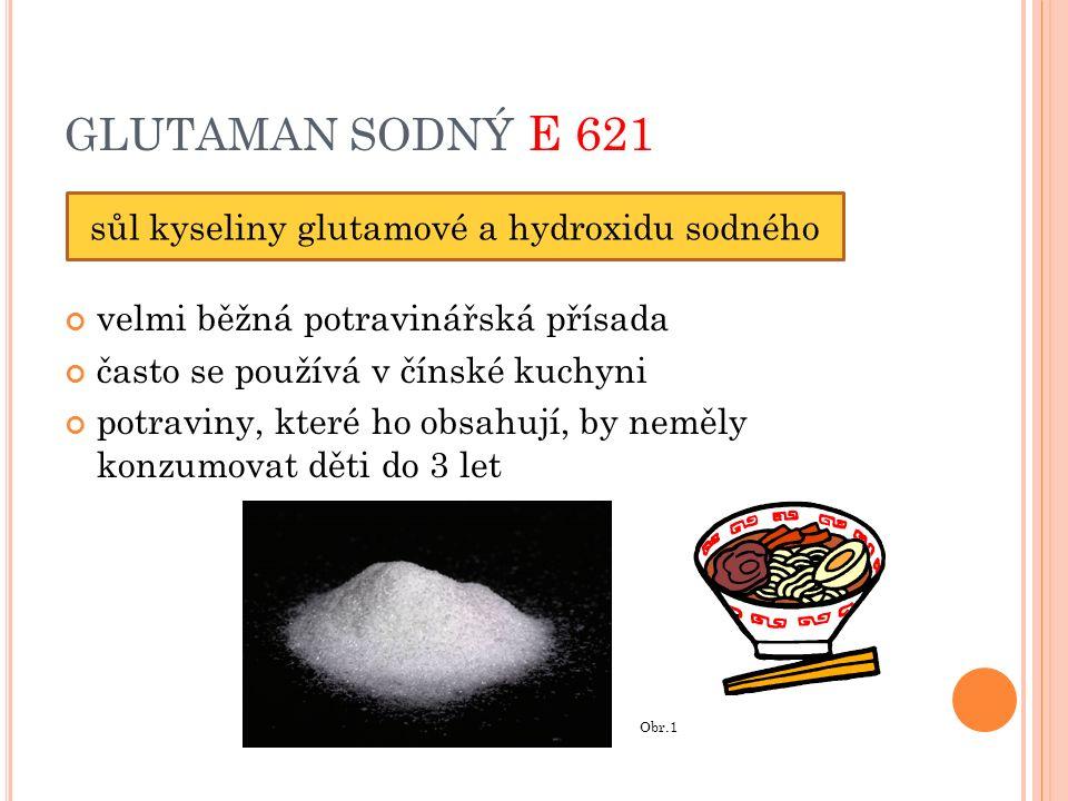 GLUTAMAN SODNÝ E 621 velmi běžná potravinářská přísada často se používá v čínské kuchyni potraviny, které ho obsahují, by neměly konzumovat děti do 3 let sůl kyseliny glutamové a hydroxidu sodného Obr.1