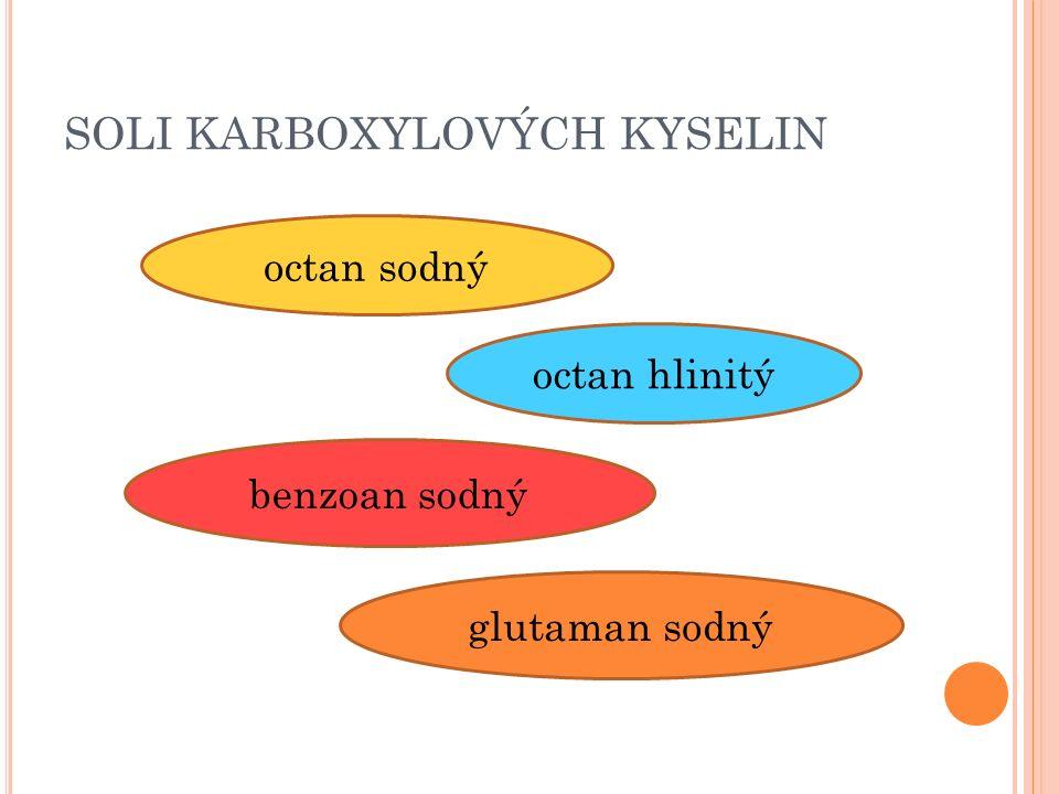 SOLI KARBOXYLOVÝCH KYSELIN octan sodný octan hlinitý benzoan sodný glutaman sodný