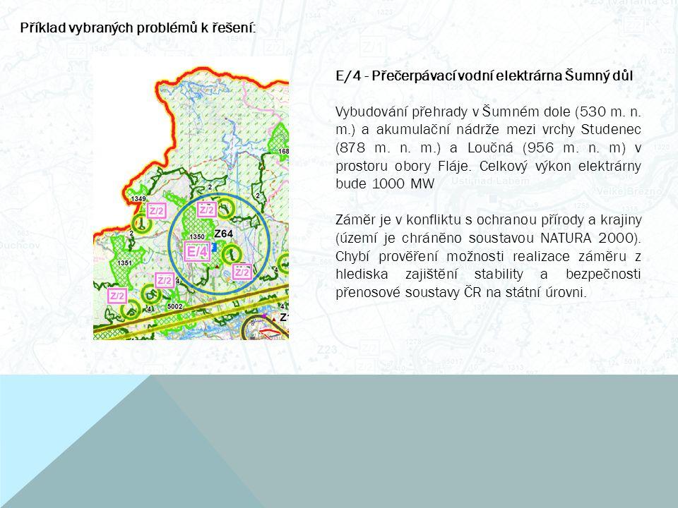 Příklad vybraných problémů k řešení: E/4 - Přečerpávací vodní elektrárna Šumný důl Vybudování přehrady v Šumném dole (530 m.