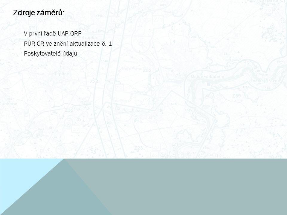 Zdroje záměrů: -V první řadě UAP ORP -PÚR ČR ve znění aktualizace č. 1 -Poskytovatelé údajů