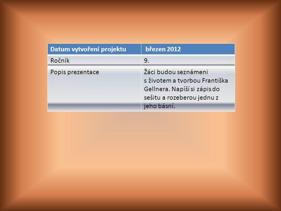 Datum vytvoření projektu březen 2012 Ročník9.